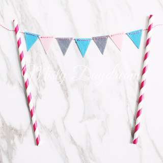 Flags Buntings in Pink Striped Straw Party Wedding Cake Topper