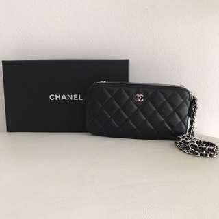 Chanel Double zip lambskin silver hardware WOC
