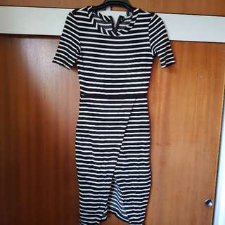 Stripe Dress Split Leg