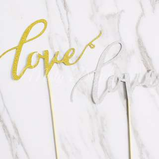 Love Glitters Party Wedding Cake Topper