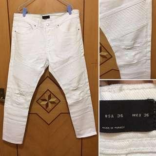 LV Zara Biker Jeans White 36US