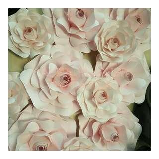 Paper flower bentuk mawar mekar