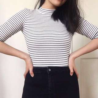 JEANSWEST Striped 3/4 Sleeve Top