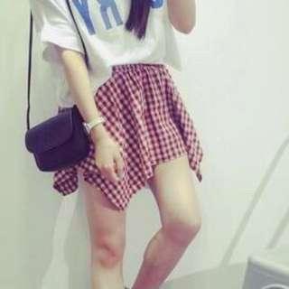 🚚 不規則 紅格紋 格子 短裙 褲裙