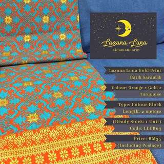 Laxana Luna: Colour Block Gold Print Batik Sarawak LLCB03