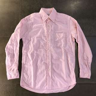 uniqlo 粉紅色純棉素面長袖襯衫 S號