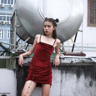 PULL AND BEAR RED VELVET TANKDRESS