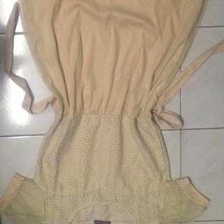 Beige Lace-Chiffon Dress