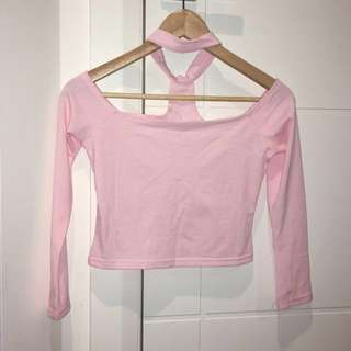 Cute pink off the shoulder crop top