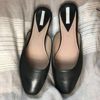 H&M Genuine Leather Flat Slide Mule Size 38 (fits like 7)
