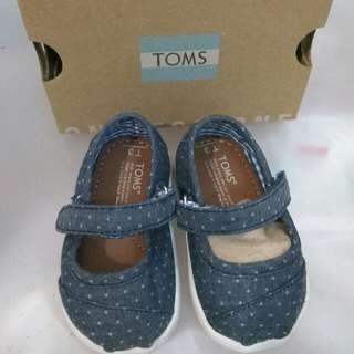 BNIB AUTHENTIC TOMS TINY BABY MARY JANE SHOES,  SIZE UK 3, EUR 18.5 , 10CM