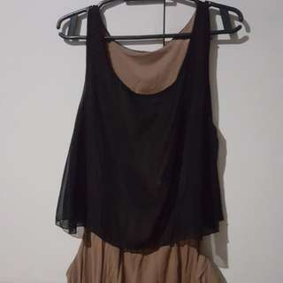 Chocolate Brown Black Dress