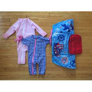 2 Swimsuits and 1 Baby Pool Float - Gently Used