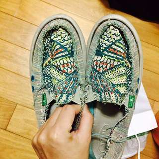 sanuk 懶人鞋 正品 US6 綠色花紋