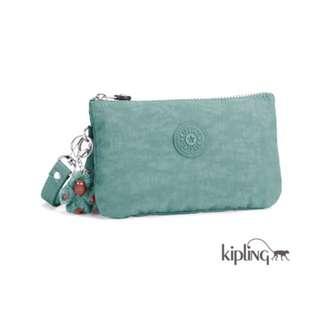 Kipling🐵湖水綠 三層零錢包/手拿包/鑰匙包/手機包