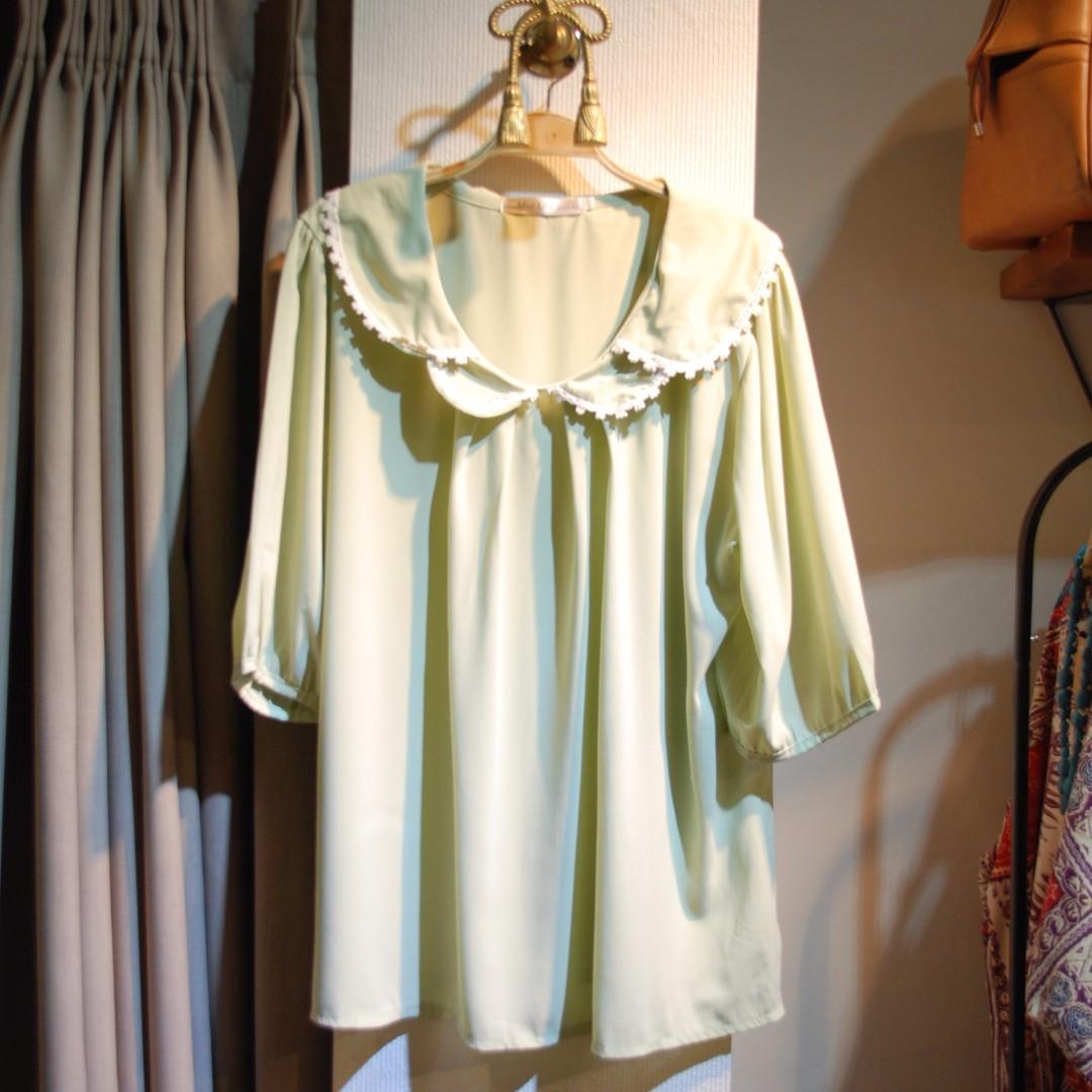 椿花二手衣-甜美淺粉綠雪紡罩衫-2L可