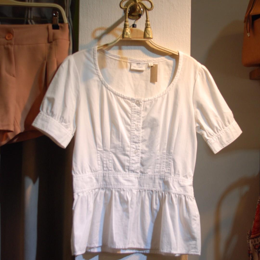 椿花二手衣-高腰設計棉質上衣-小資、經典