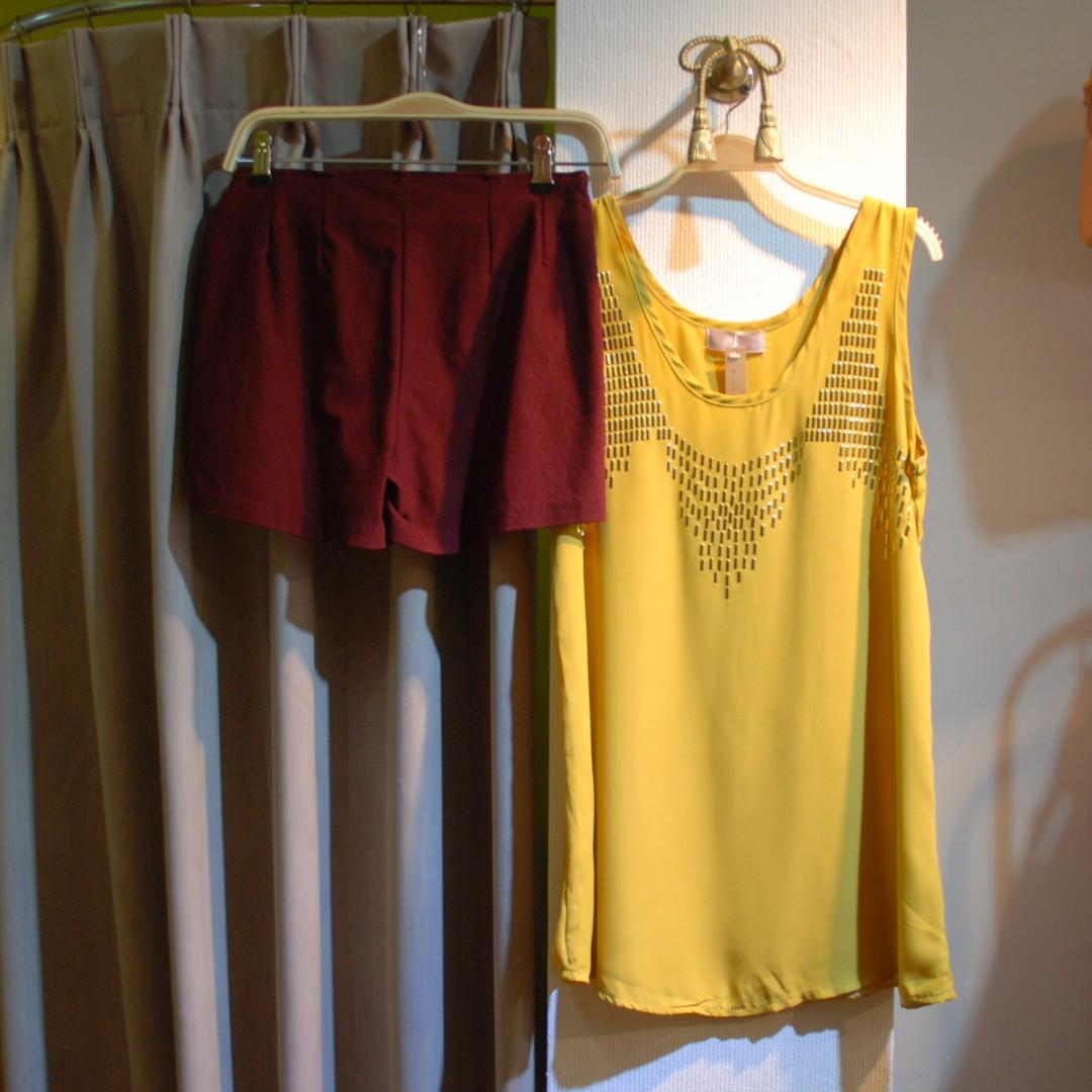 椿花二手衣-銘黃色燙金裝飾無袖雪紡上衣-質感、歐美極簡