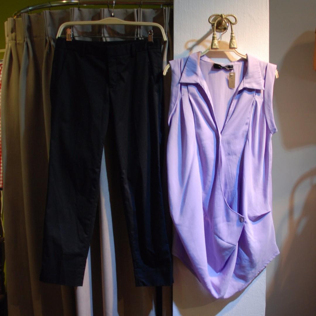 椿花二手衣-粉紫色立體剪裁罩衫-歐美