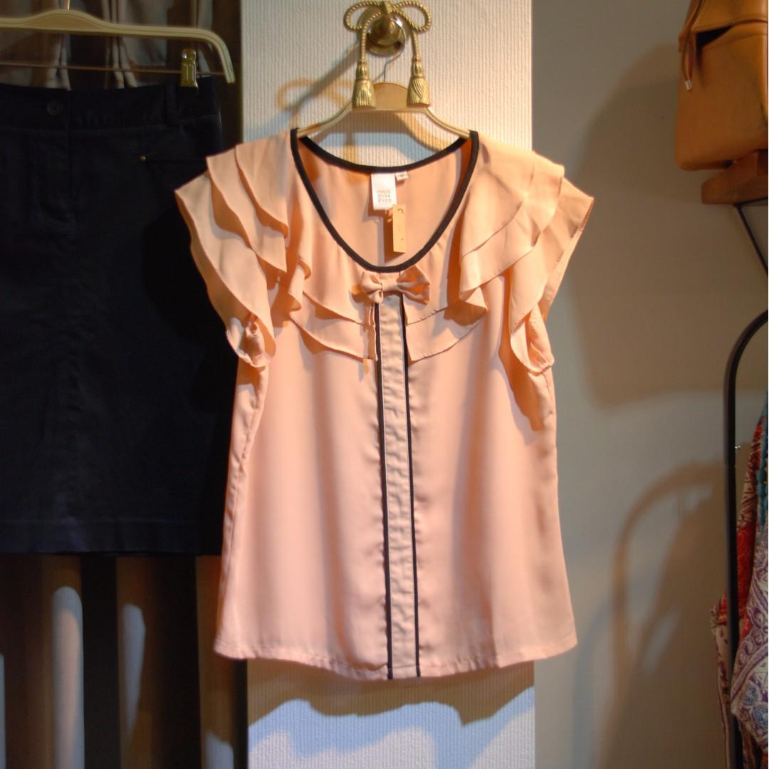 椿花二手衣-顯白淺粉橘雪紡上衣-小資