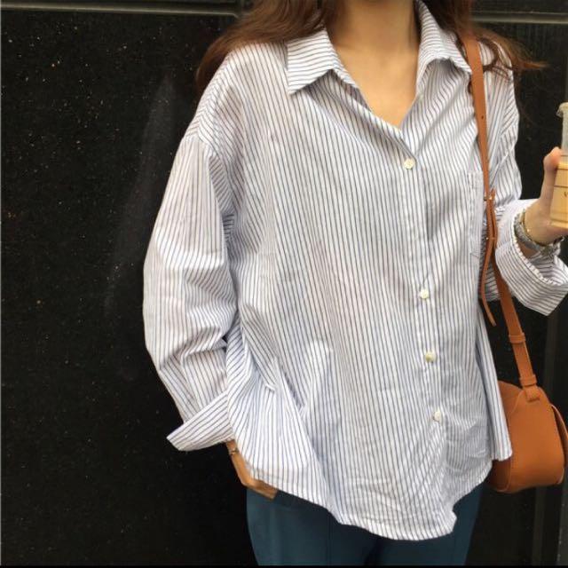 秋季韓版寬鬆百搭細條紋長袖襯衣打底衫顯瘦中長款休閒襯衫女上衣