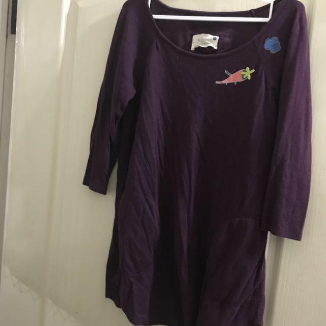送紙袋 A la sha 紫色七分袖寬領上衣