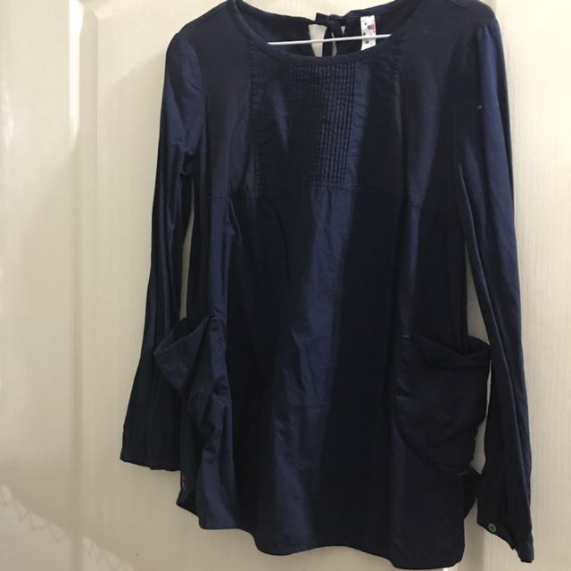送紙袋 A la sha 深藍後綁帶 襯衫材質 上衣