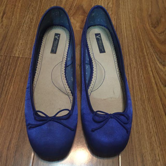 美國帶回 American Eagle 保證真品 寶藍色 緞面布料 平底 娃娃鞋