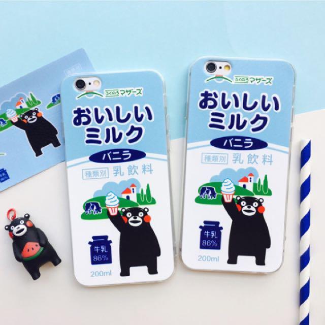 預購 日系清新熊本熊牛乳iPhone5,5S,SE/6,6S/6plus,6splus/7/7plus手機全包透明浮雕軟殼 附霧面透明掛繩