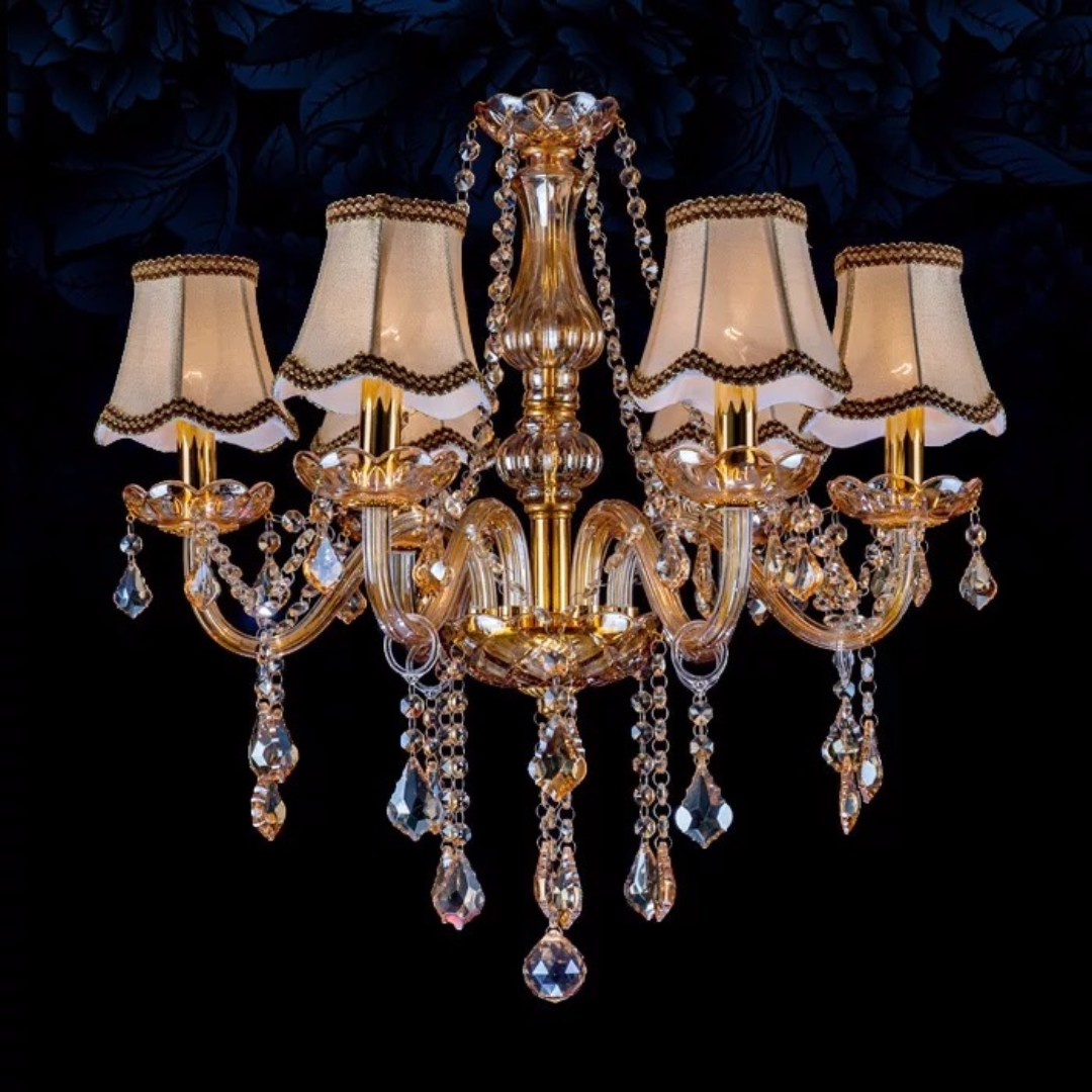 Amber crystal chandelier with lampshade furniture home decor on photo photo aloadofball Gallery