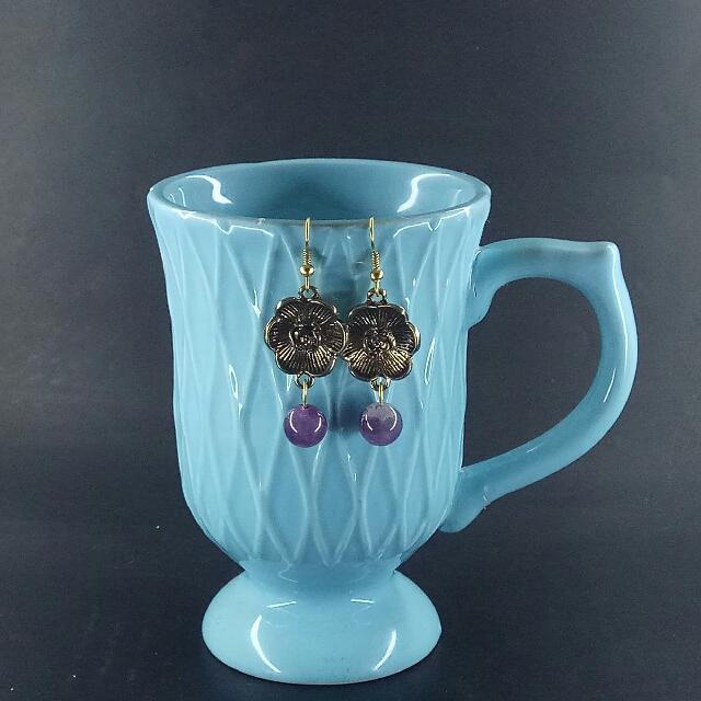 Amethyst Flora Dangle Earrings - Gold