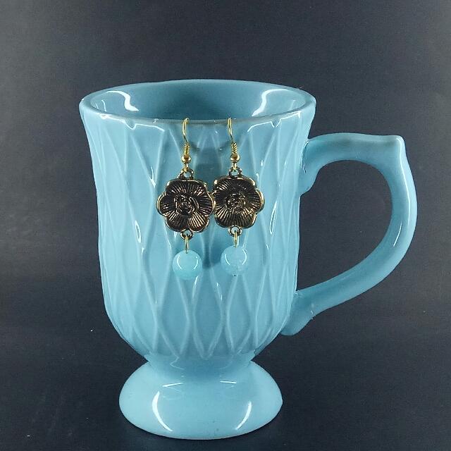 Aquamarine Flora Dangle Earrings - Gold