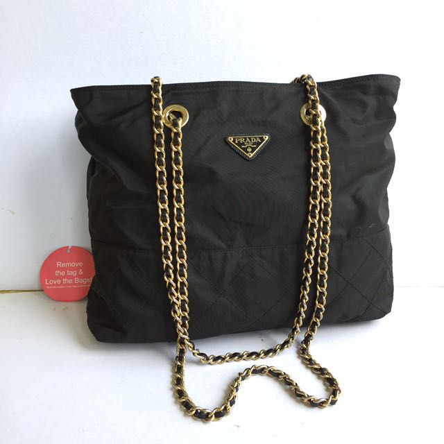 0e8548615d08 auth prada tessuto quilted chain nylon shoulder bag