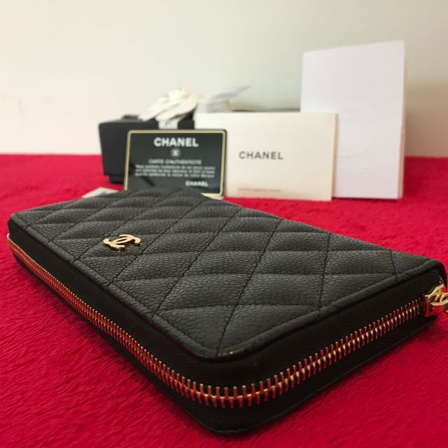65314314376d Authentic Brand New Chanel Black Caviar long zippy wallet in Gold ...