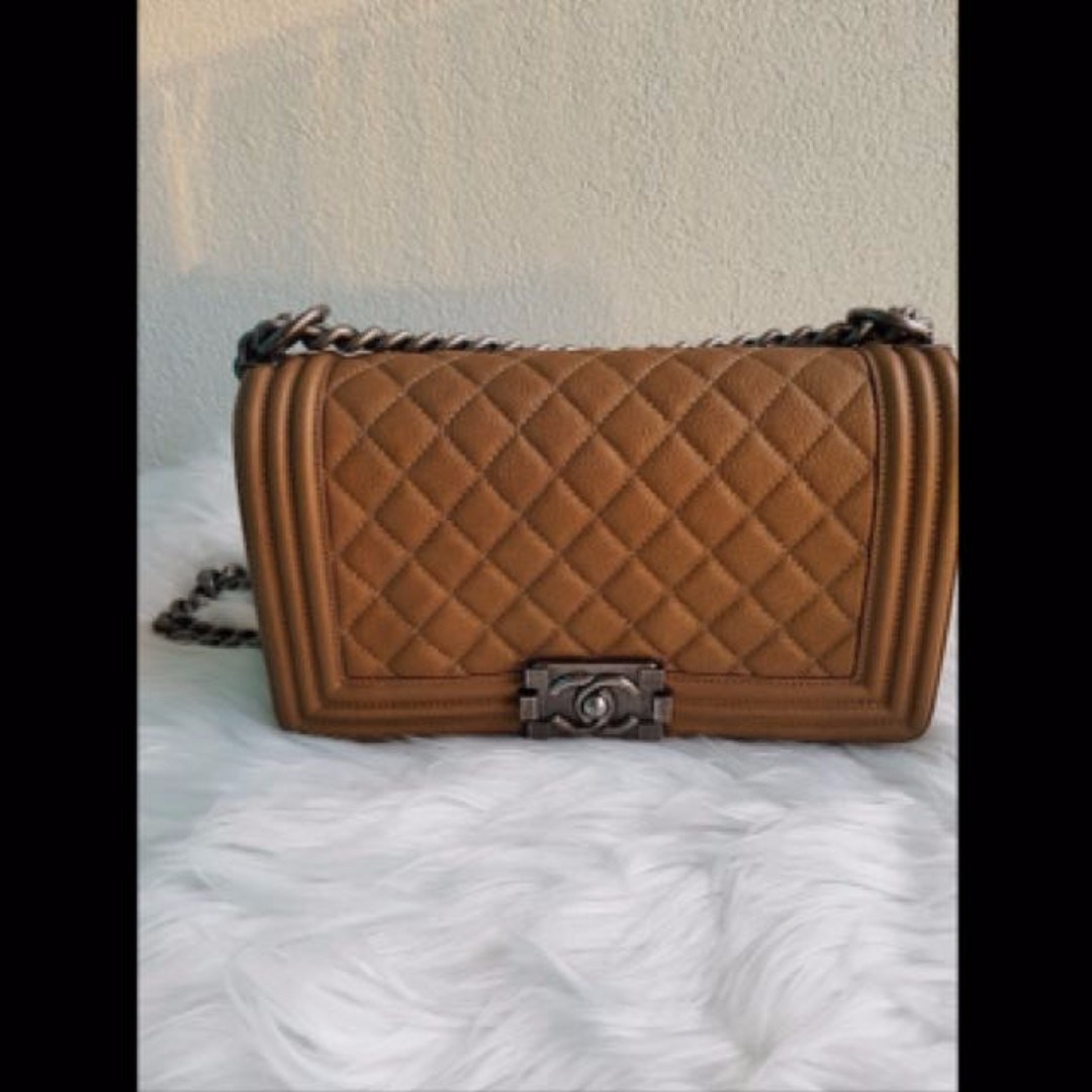 Authentic CHANEL Dark Gold Caviar Old Medium BOY Flap Bag