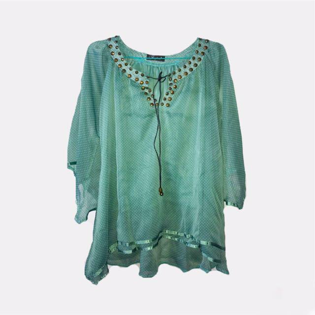 Baju blouse mint polkadot