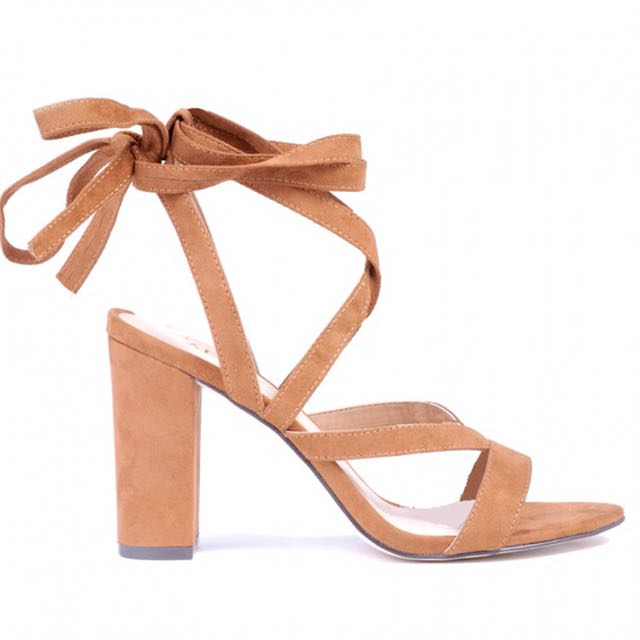 Beige/Nude Lace Up Heels