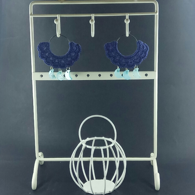 Blue Moon Crochet Fan Hoop Earrings
