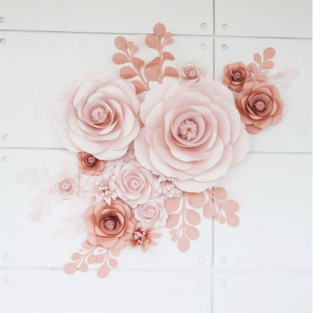 Blush and pink paper flower wall design craft art prints on photo photo mightylinksfo