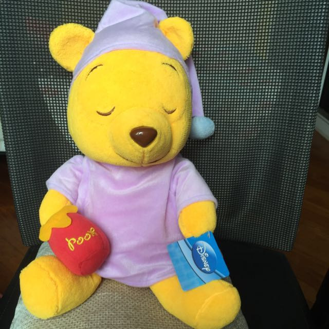 3034889a493f BNWT 45CM Pooh bear In Pajamas With honey Bottle Soft Toy With Beans ...