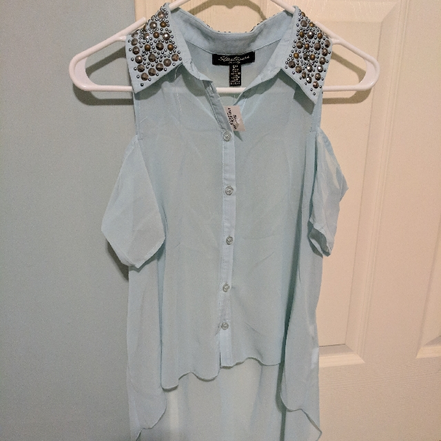 BNWT Studded Cutout Shoulder Blouse