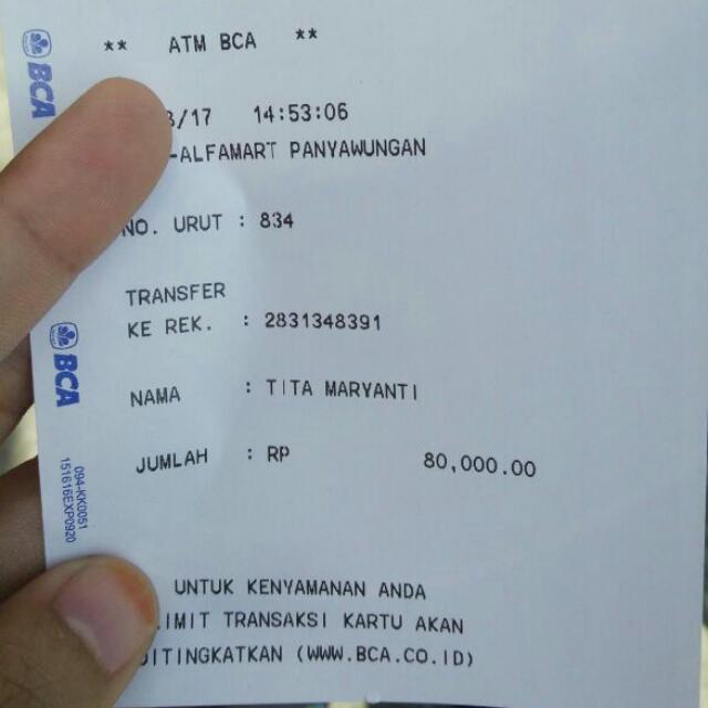 bukti2 transferan dr customer,nama rekening = nama akun carousell yaa..silahkan dicek ;)