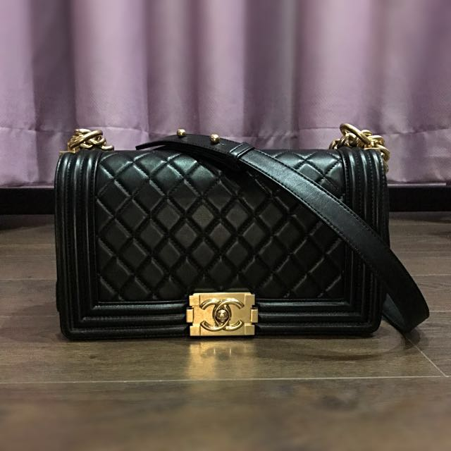 178f9c202582 Chanel le boy old medium black lambskin with antique brass ghw ...