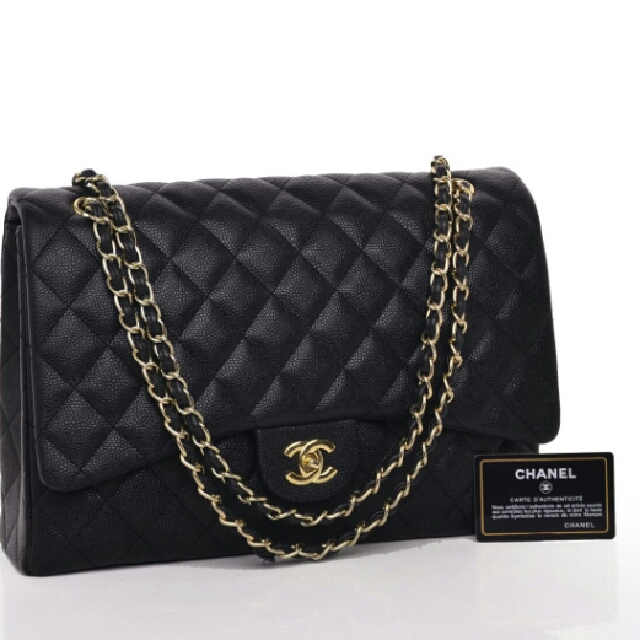 Chanel Maxi Large Caviar Flap Quilted Hitam  Seprem