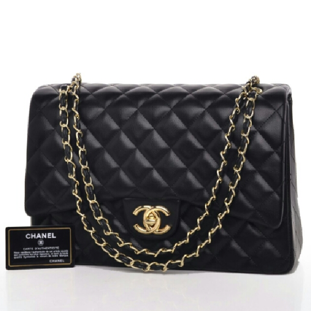 Chanel Maxi Large Lambskin Flap Quilted Hitam Termurah Seprem
