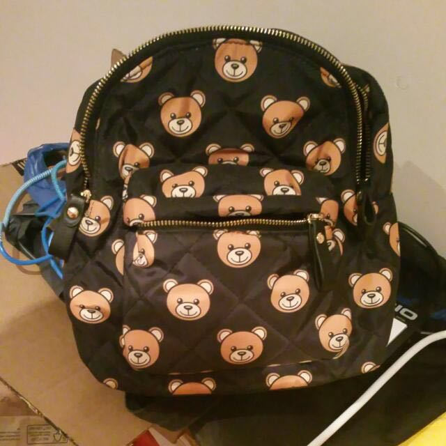Cute Bear Quilted Mini Backpack trendy