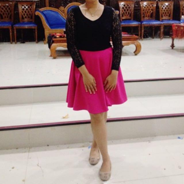 Dress Pink Hitam Brukat