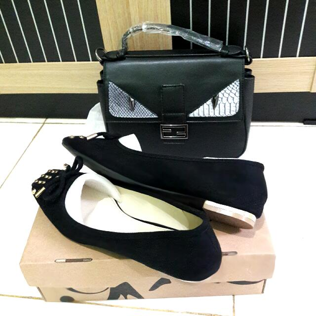 FENDI BAG SLINGBAG HANDBAG + FLAT SHOES