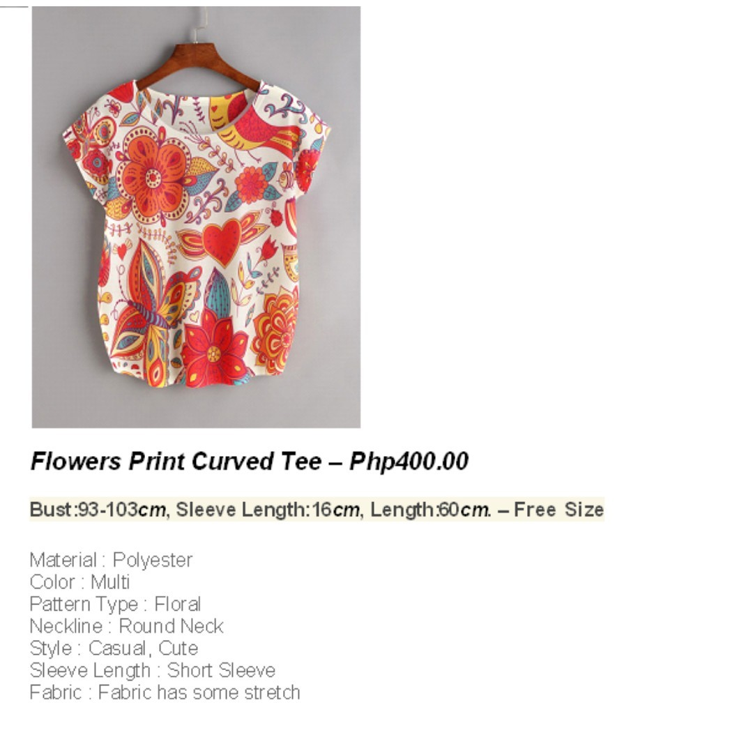 Flower Print Curved Tee