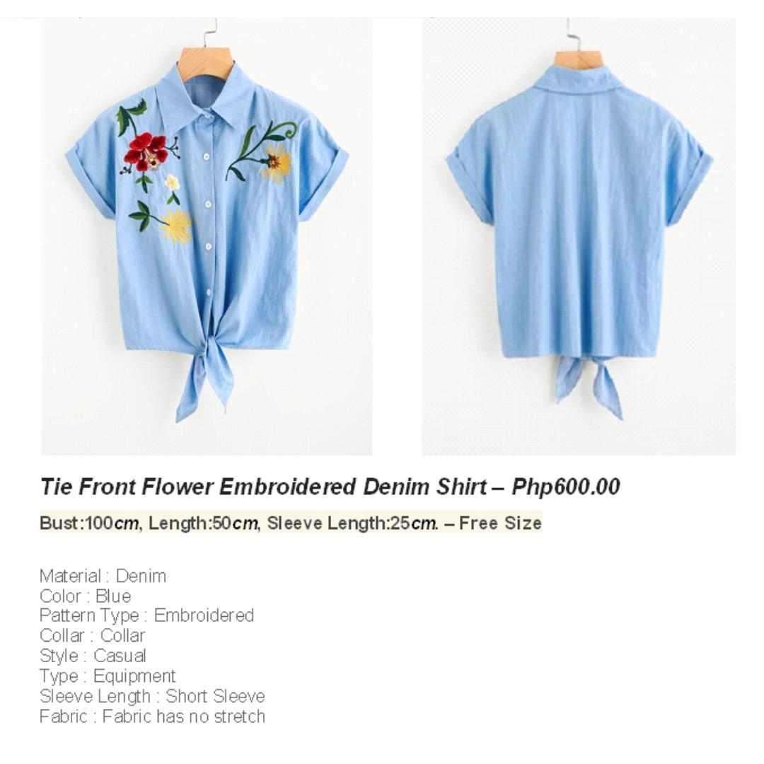 Front Flower Embroidered Denim
